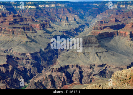 View of the Bright Angel Canyon as seen from Mather Point Lookout, Grand Canyon Lodge on the North Rim - Stock Photo
