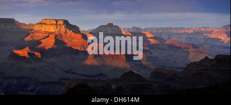 Panoramic view with the Vishnu Temple as seen from Yavapai Point Lookout at sunset, Desert Palisades, Wotan's Throne - Stock Photo