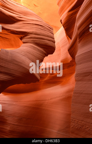 Lady in the Wind rock formation, red sandstone of the Moenkopi Formation, colors and patterns, Lower Antelope Slot - Stock Photo