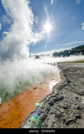 Champagne Pool at Wai-o-tapu geothermal wonderland, New Zealand. Naturally coloured hot springs - Stock Photo