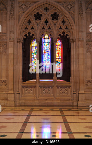 Church window in the aisle, Washington National Cathedral or Cathedral Church of Saint Peter and Saint Paul in the - Stock Photo