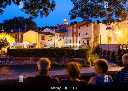 Borghetto at dusk, Borghetto, Valeggio sul Mincio, Veneto Region, Italy - Stock Photo