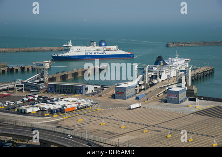 Kent, England. July 2013 Vehicle and passenger ferries at Dover international port. Kent. - Stock Photo