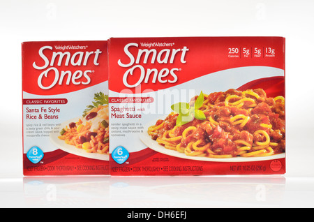 Unopened boxes of Weight Watchers Smart Ones frozen dinners on white background, cutout. USA - Stock Photo