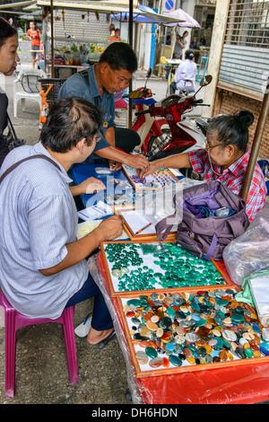 gem seller at the weekend Gems Market in Chanthaburi ...