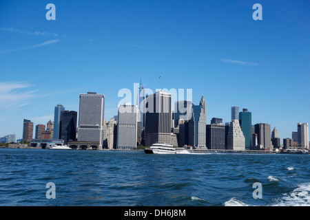 ferry boat on Hudson river in NYC - Stock Photo