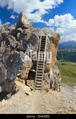 big wooden ladder in Bepi Zac via ferrata, Trentino, Italy - Stock Photo