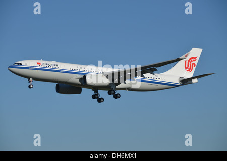 A brand new Air China A330 ready for the customer delivery during flight tests in Toulouse, France. - Stock Photo