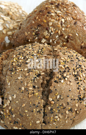 Multigrain wholemeal loaves of bread - Stock Photo