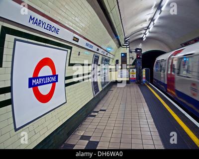 Bakerloo Line platform at Marylebone Underground Station, London, England, United Kingdom - Stock Photo