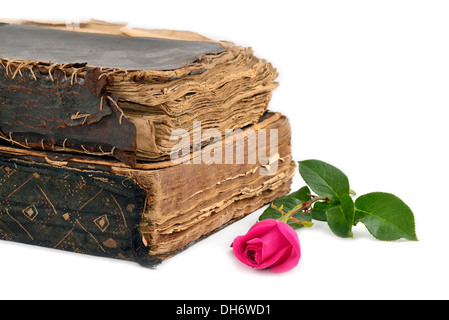 two old worn books and roses on a white background - Stock Photo