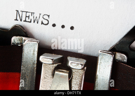 Word News typed on a vintage typewriter great for newsletters or company blogs and websites - Stock Photo