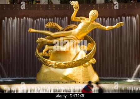 Gold Prometheus Statue, Rockefeller Center New York City - Stock Photo