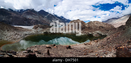 Hidden Buddhist Sacred Tso Yarab Lake. Himalaya mountains range. India, Ladakh, near Panamik, Sumur village, altitude - Stock Photo