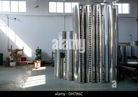 Tanks of vacuum tube solar water heaters - Stock Photo