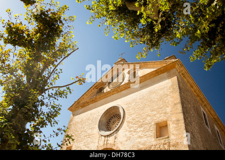 Facade of the Royal Charterhouse of Valldemossa, Serra de Tramuntana, Majorca, Balearic Islands, Spain - Stock Photo
