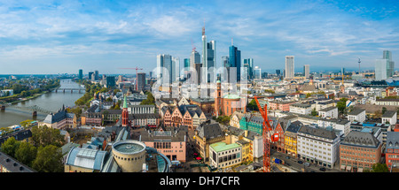 Panorama of Frankfurt, Germany with the new and old cityscapes. - Stock Photo