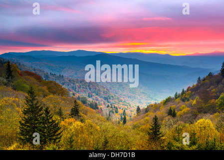 Autumn morning in the Smoky Mountains National Park. - Stock Photo