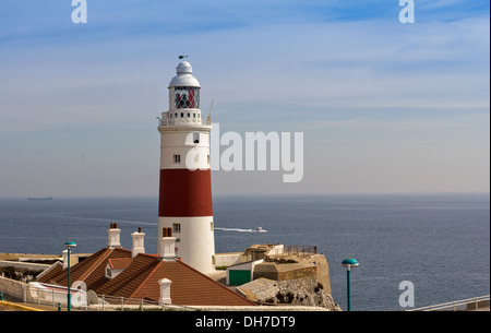 LIGHTHOUSE AT EUROPA POINT GIBRALTAR AND MOTOR BOAT - Stock Photo