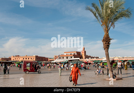 Jamaa el Fna is a square and market place in Marrakesh's Medina quarter (old city) Morocco - Stock Photo