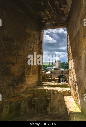 View Through Window On Linlithgow Palace In Scotland - Stock Photo