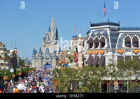Disney World Resort View of Cinderella Castle in Autumn, October with Halloween Decorations, Magic Kingdom, Orlando - Stock Photo