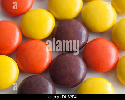 A close-up of Reese's Pieces peanut butter candy, manufactured by The Hershey Company. - Stock Photo