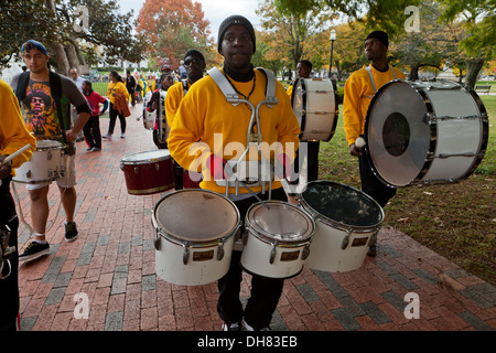 African-American man playing triple configuration snare drums - Washington, DC USA - Stock Photo