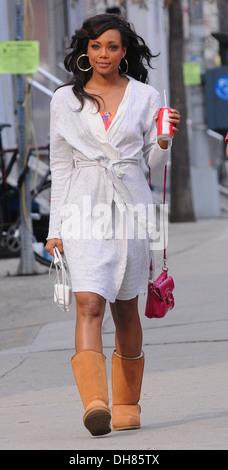 Tiffany Hines on set of 'Americana' filming on location in Manhattan New York City USA - 23.03.12 - Stock Photo