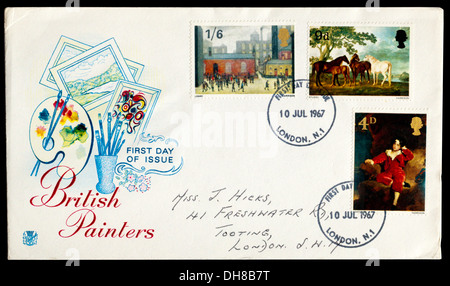First Day Cover celebrating British Painters. - Stock Photo