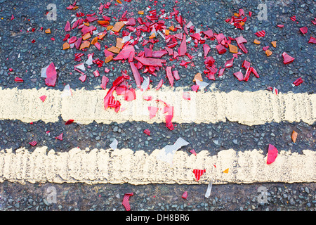 Broken Glass On Road From Traffic Accident - Stock Photo