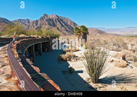 California, San Diego County, Anza-Borrego Desert State Park, Visitor Center, viewing terrace on roof, female visitor - Stock Photo