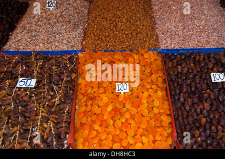 Dry fruits and nuts in a market form Marakesh - Stock Photo