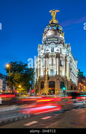 Rays of traffic lights on Gran via street in Madrid at night. Spain, Europe. - Stock Photo