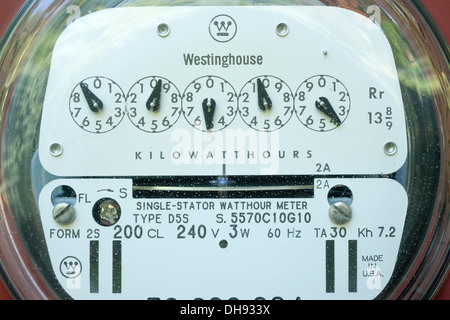 WESTINGHOUSE D5S TRADITIONAL ANALOG STANDARD 240 VOLT RESIDENTIAL UNITED STATES ELECTRIC METER (©WESTINGHOUSE ELECTRIC - Stock Photo