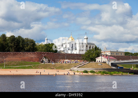 Kremlin town fortress with St. Sophia Cathedral in Veliky Novgorod. - Stock Photo