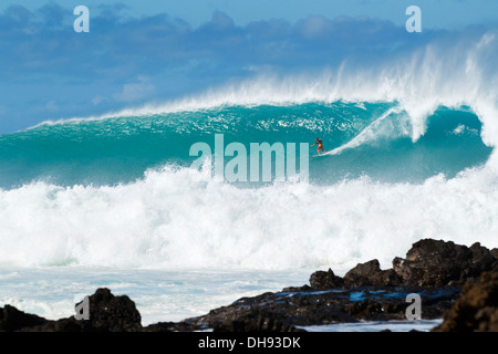 Hawaii, Maui, Laperouse, Professional Surfer Albee Layer Riding A Large Wave At Laperouse Bay. - Stock Photo