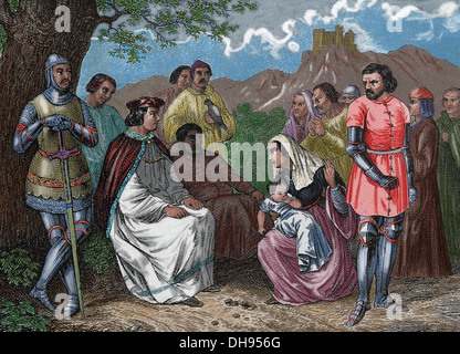 Louis IX (1214 – 1270). King of France (1226-1270). Saint Louis administering justice in the open field. Engraving. - Stock Photo