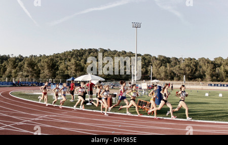 Athletes compete during Junior national trials in Majorca, Spain - Stock Photo