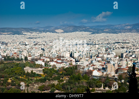 Athens panorama, capital of Greece and largest city in the country. - Stock Photo