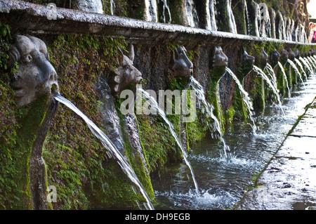 Animal head fountains in The Hundred Fountains avenue, Le Cento Fontane, Villa d'Este, Tivoli, Lazio, Italy - Stock Photo