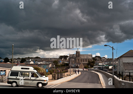 Hayle town Cornwall under thunderous black sky and dark clouds - Stock Photo