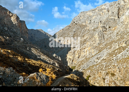 View in the Gorge of Kourtaliotiko, a.k.a. the Asomatos Gorge, on the southern side of the western part of the island - Stock Photo