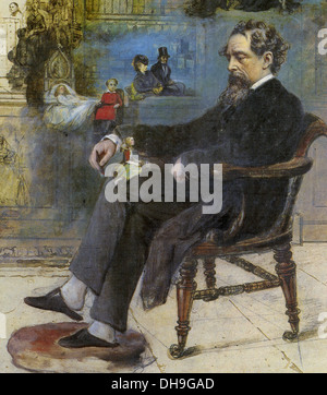 CHARLES DICKENS (1812-1870) English author in a painting by Robert Buss entitled Dickens' Dream fro 1875 - Stock Photo