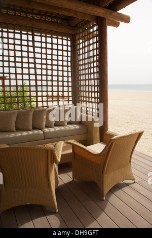 New beach villa at Sir Bani Yas Island, Abu Dhabi - Stock Photo