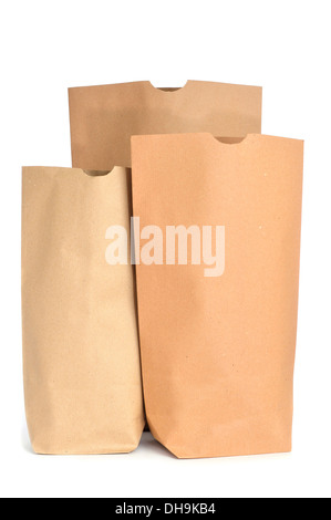 some grocery paper bags on a white background - Stock Photo
