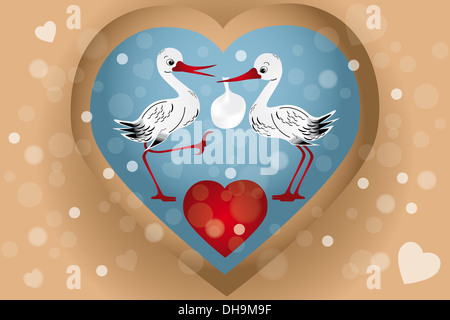 Two cute storks with bag (baby arrival) illustration with hearts, bubbles in retro look - Stock Photo