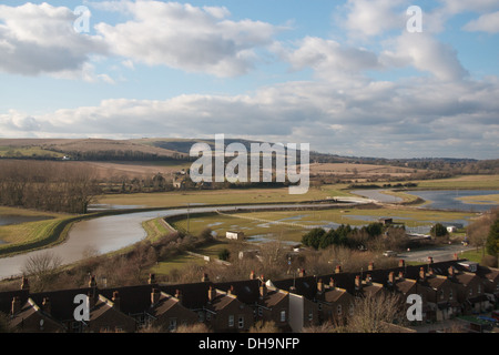 View across the river Adur, from Shoreham cement works, Sussex, UK - Stock Photo
