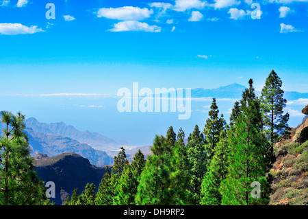Tenerife Island and Mount Teide seen from the Llano del Roque Nublo in Gran Canaria Island, Spain - Stock Photo