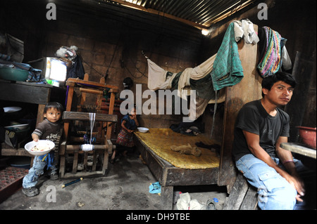 Poor living condition of Guatemala indigenous family in San Antonio Palopo, Guatemala. - Stock Photo